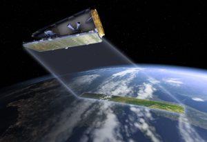Computer generated image of NovaSAR-1 in orbit.