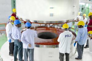 Joining of two segments of PSLV-C42 first stage in progress