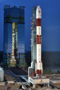 PSLV-C42 Vehicle on the First Launch Pad with Mobile Service Tower in the background