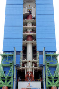 PSLV-C42 vehicle integrated upto its fourth stage inside mobile service tower