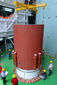Placement of interstage over the first stage of PSLV-C42