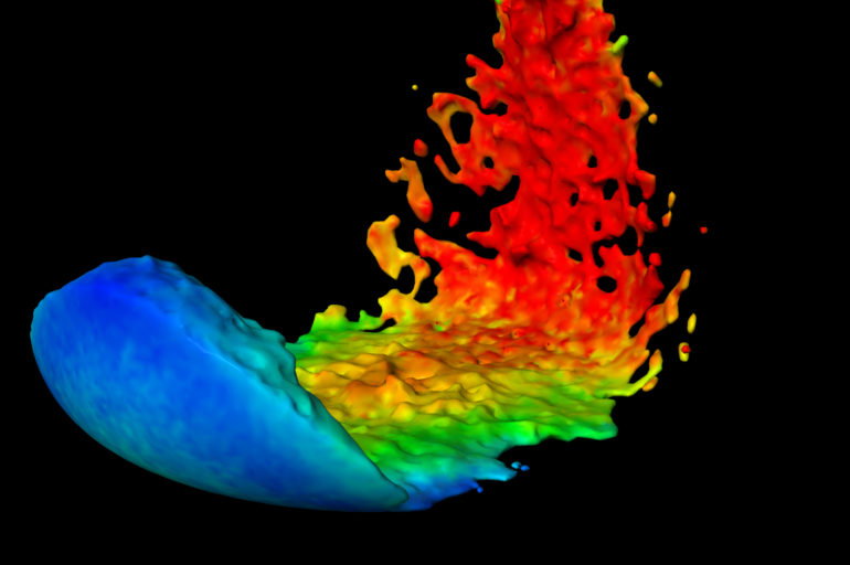 Computer simulation of water flowing