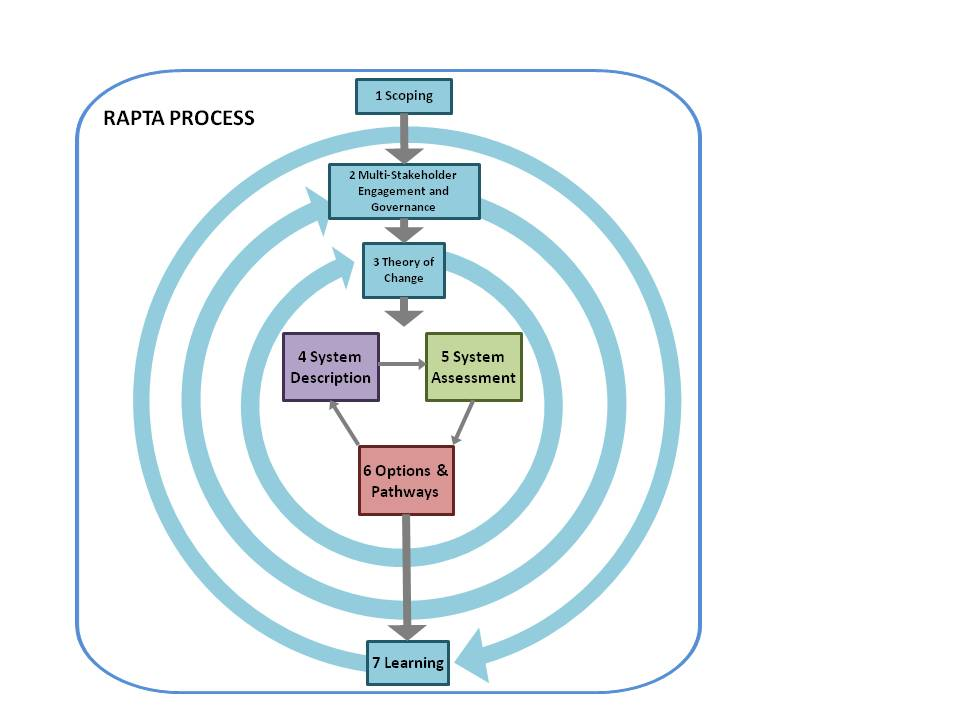 Overview of the RAPTA process detailed in the RAPTA Guidelines. Applying RAPTA is an iterative process. The components in blue are both discrete steps and ongoing processes. Though numbered for ease of reference, they can be applied in varying orders. They are a routine part of most development projects but are included here because they are critical to applying RAPTA successfully. Some may need to be modified to reflect RAPTA concepts. The heart of what is new in bringing RAPTA into project design is shown in the centre – System Description, System Assessment, and Options and Pathways.