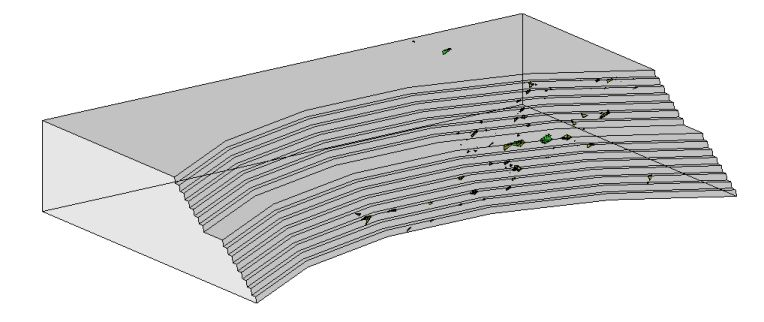 model of an open pit mine showing kinematic analysis of daylighting blocks and wedges left and results of a monte carlo simulation right