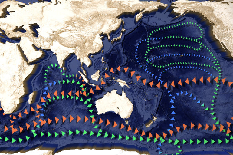 Currents in the Indian, Pacific and Southern Ocean