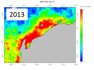 Extent of Pilbara heatwave in 2013: Areas shaded orange were areas of potential coral bleaching and mortality.