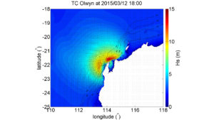 Wave model predictions of the impact of Tropical Cyclone Olwyn during 2015.