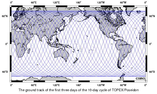 First 3 days of TOPEX/Poseidon ground track