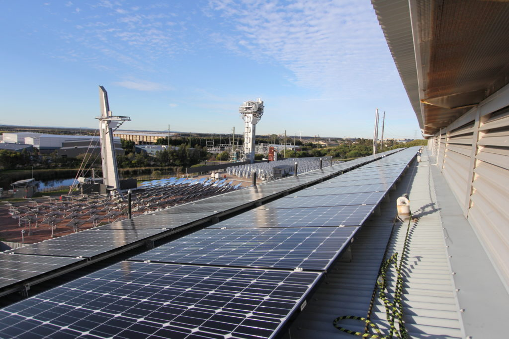 A view of the 2 ×25 kW silicon solar panel arrays on the roof of our Newcastle Energy Centre.