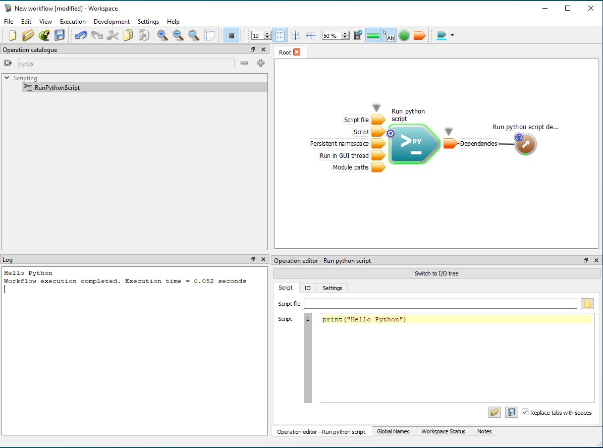 Workspace: Embedding a Python script into a workflow