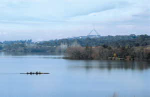 Early morning rowers on Lake Burleigh Griffin, Canberra. (Photo: Willem van Aken, CSIRO)