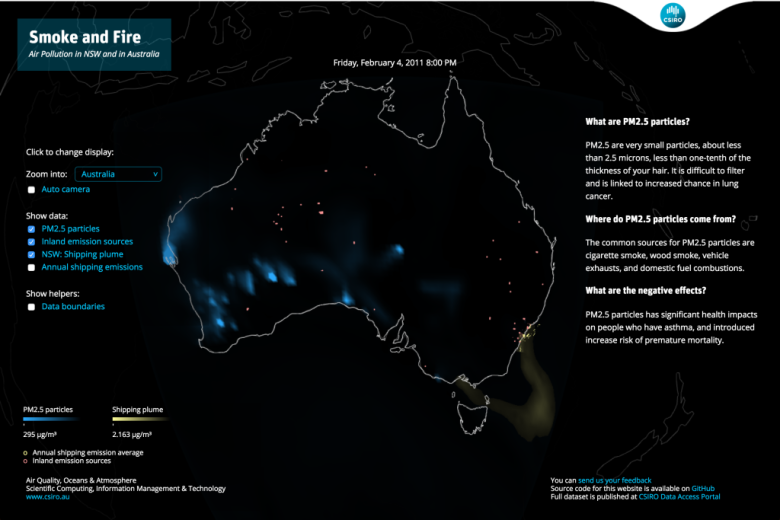 Map of Australia with air quality overlay
