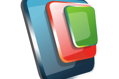 Workspace logo - green square on red on blue