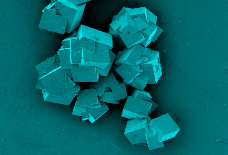 Close up of the metal organic framework crystals
