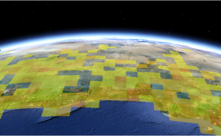 Satellite view of Australia, edge on from the south, with an overlay
