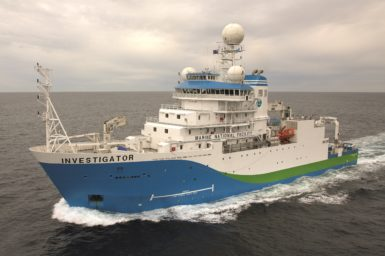 The RV Investigator ship at sea