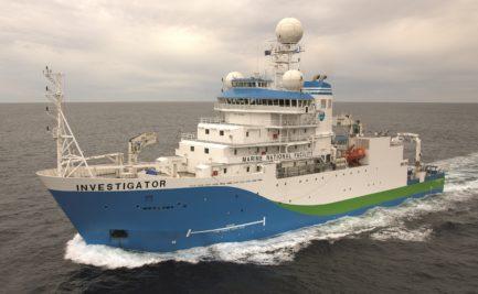 The RV Investigator ship at sea
