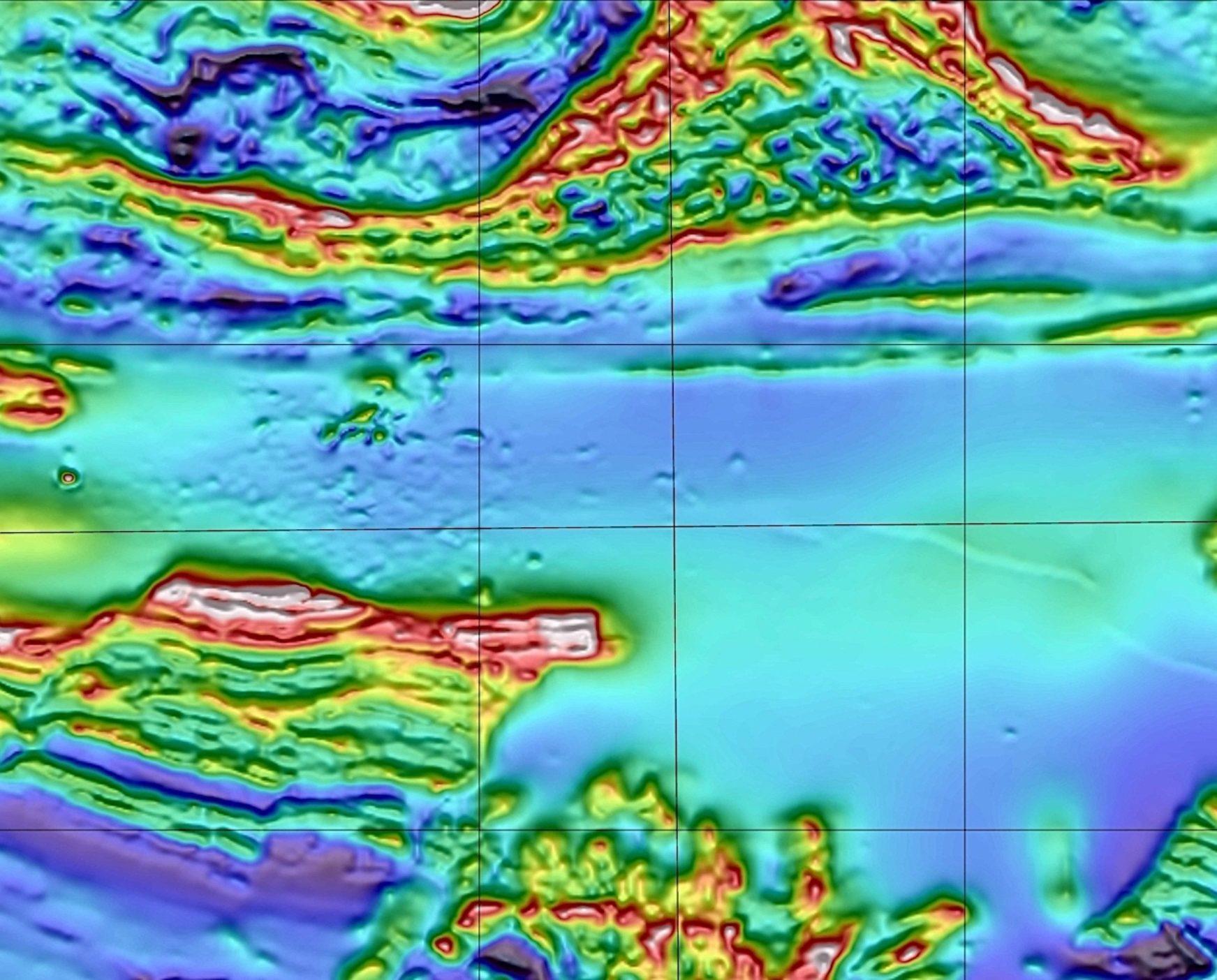 False colour scan image of landscape