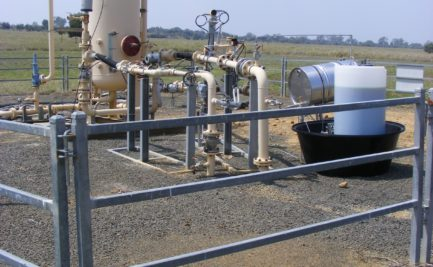 A CSG well with pipes and tanks