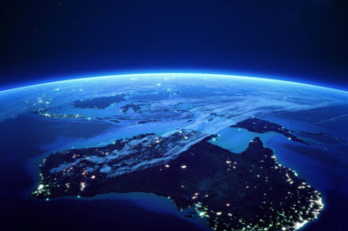 Australia at night from space