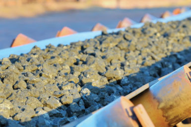 Ore on a conveyor belt