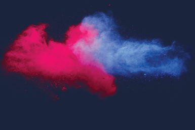 Red and blue powder colliding