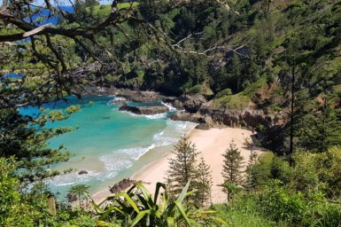 A beach and bay on Norfolk Island